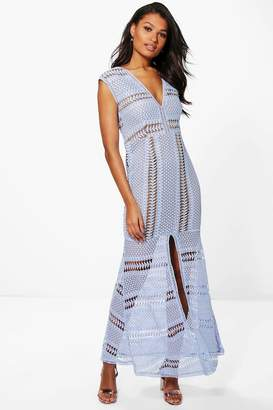 boohoo Boutique Anna Corded Lace Panelled Maxi Dress