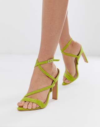 Lost Ink pointed strappy heeled sandals in lime