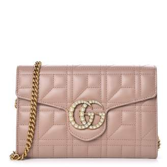 Gucci Marmont Flap Matelasse GG Studded Pearls Mini Porcelain Rose