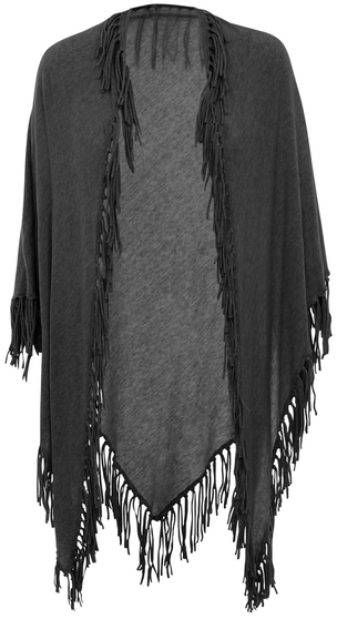 Minnie Rose Boho Cotton Fringe Shawl - 18216