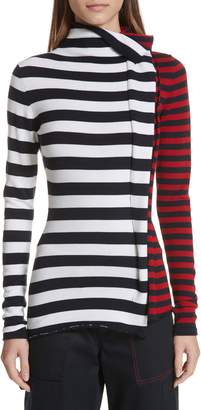 Monse Half & Half Stripe Wool Sweater