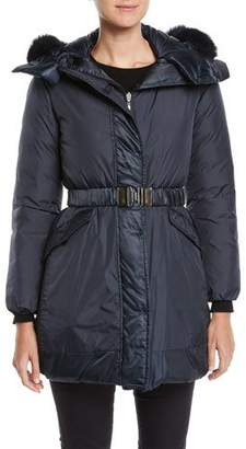 Max Mara The Cube Here is the Cube Collection Novecar Reversible Belted Down Jacket