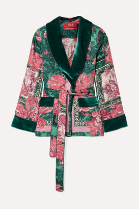 F.R.S For Restless Sleepers Armonia Velvet-trimmed Printed Silk-twill Jacket - Pink