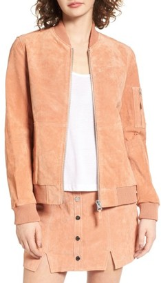 Women's Obey Nomadic Suede Bomber Jacket $218 thestylecure.com