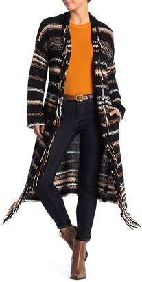 360 Cashmere Audrey Striped Fringe Wool Blend Cardigan