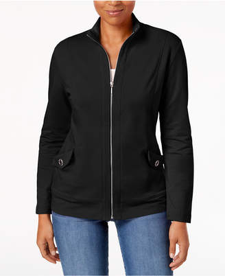 Karen Scott Petite Terry Zip-Front Jacket, Created for Macy's