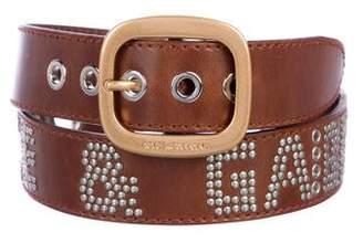Dolce & Gabbana Studded Logo Leather Belt