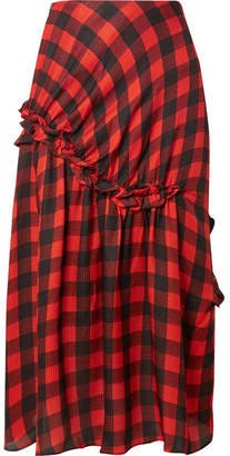 Preen by Thornton Bregazzi Adrienne Ruffled Checked Silk-jacquard Midi Skirt - Red