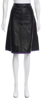 Marni Leather Knee-Length Skirt