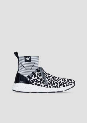 Emporio Armani Mesh Sock Sneakers With Patent Leather Details And Animal Print