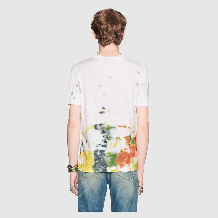 Cotton tie-dye t-shirt with Gucci print 4
