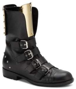 Giuseppe Zanotti Leather & Goldtone Metal Buckle Boots