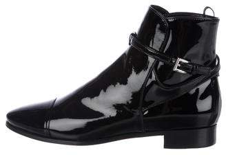 Prada Patent Leather Cap-Toe Ankle Boots