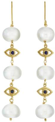 Ileana Makri EYE M by Pearl Space Sapphire Eye Drop Earrings