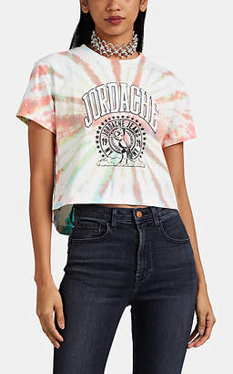 Jordache Women's Logo-Print Tie-Dyed Cotton Crop T-Shirt