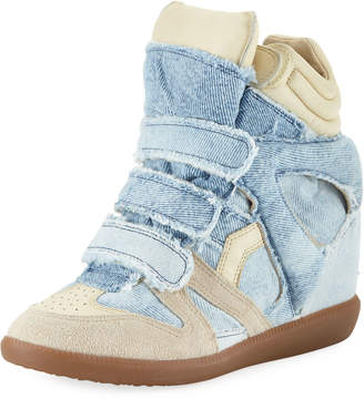 Isabel Marant Bekett Denim Wedge High-Top Sneakers