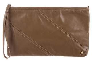 Halston Leather Wristlet Clutch
