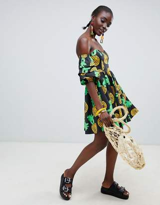 Asos Made In Made In Kenya x Julie Adenuga Off Shoulder Dress In Pineapple Print