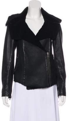 AllSaints Fur-Lined Leather Jacket