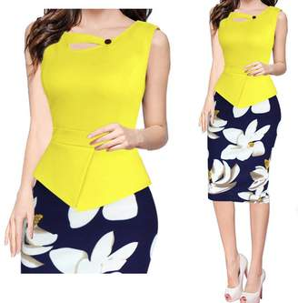 Kain Label Kalin L Women Buttons Cross Colorblock Peplum Floral Skirt Tunic Maxi Pencil Dress