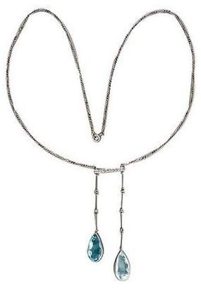 Platinum 18.00ct Pear Aquamarine Double Rose Cut Diamond Drop Pendant Art Deco Necklace