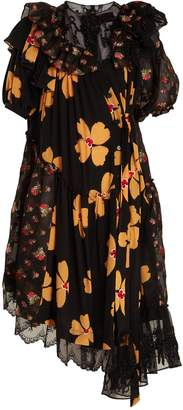 Simone Rocha Floral-print asymmetric gathered dress