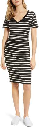 BP Stripe Ruched Body-Con Dress