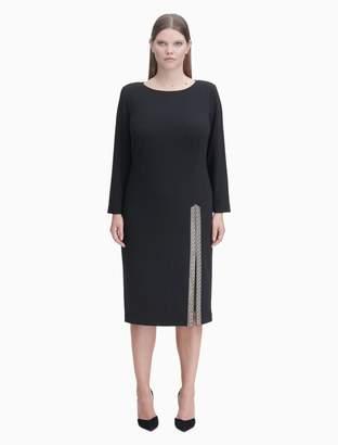 Calvin Klein plus size embellished slit long sleeve dress
