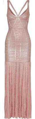 Herve Leger Zhenya Cutout Pleated Metallic Bandage Gown