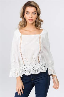 f0f7a551ba0 White Long Sleeve Peplum Top - ShopStyle Canada