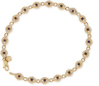 Sydney Evan 14k Evil Eye Diamond & Sapphire Link Bracelet