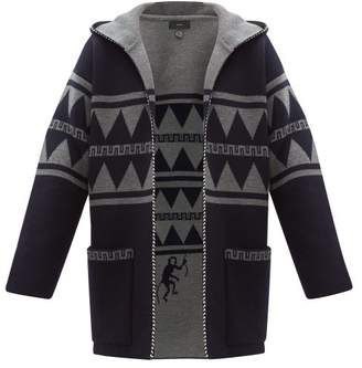 Alanui Crazy Monkey Hooded Cashmere Cardigan - Mens - Navy Multi