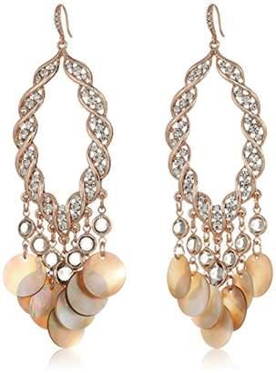 Badgley Mischka Womens Shell Disc & Crystal Drop Earrings