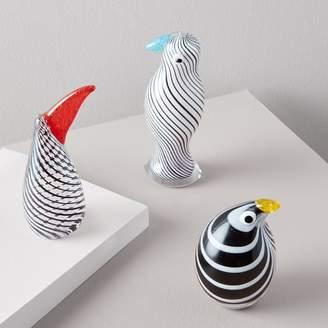 west elm Optic Stripes Glass Bird Objects