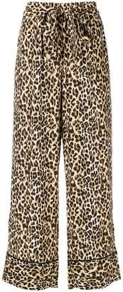 Gold Hawk leopard print wide leg trousers