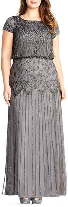 Adrianna Papell Plus Short Sleeve Beaded Gown