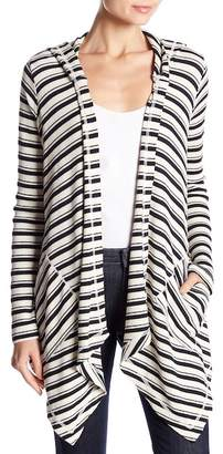 Splendid Striped Drape Front Cardigan