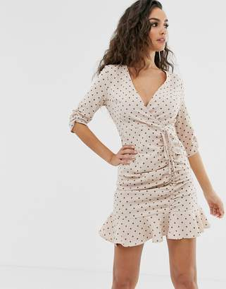 Outrageous Fortune ruched tie front mini skater dress with fluted hem in pink polka print