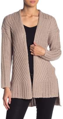 Andrea Jovine Mixed Knit Open Front Cardigan
