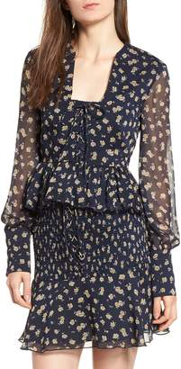 THE EAST ORDER Lace-Up Peplum Blouse