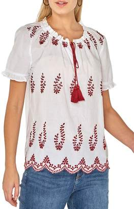 Dorothy Perkins White Embroidered Frill Gypsy Top