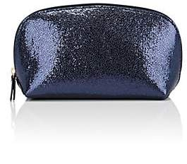 Barneys New York WOMEN'S METALLIC CRINKLED LEATHER COSMETIC CASE - BLUE