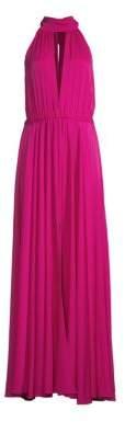 Milly Emma Silk-Blend Halter Gown