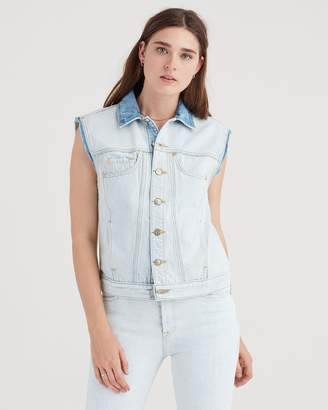7 For All Mankind Oversized Vest with Destroy in Cloud Bleach Out