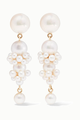 Sophie Bille Brahe + Cecilie Bahnsen Tulip 14-karat Gold Pearl Earrings - one size