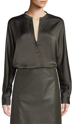 Vince Split-Neck Long-Sleeve Silk Satin Blouse
