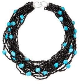 Silver & Turquoise Multi-Strand Beaded Necklace