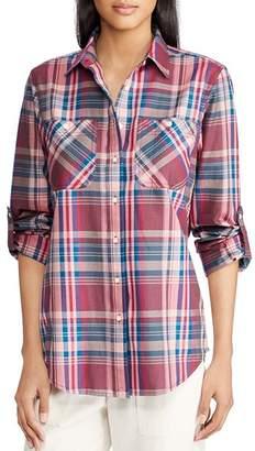 Ralph Lauren Roll-Sleeve Plaid Shirt
