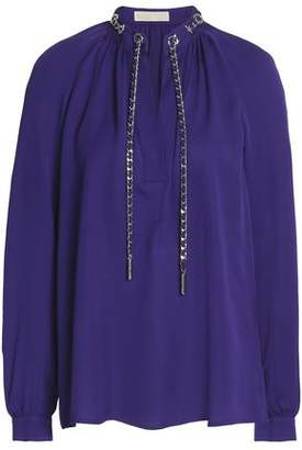 MICHAEL Michael Kors Chain-Embellished Gathered Silk Crepe De Chine Blouse