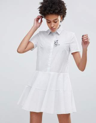 Paul & Joe Sister Shirt Dress with Embroidered Cat